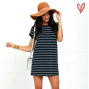 Lulu's | Cafe Society Navy Striped Shirt Dress